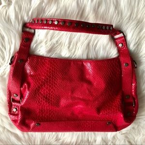 KENNETH COLE REACTION Red Snake Textured Bag